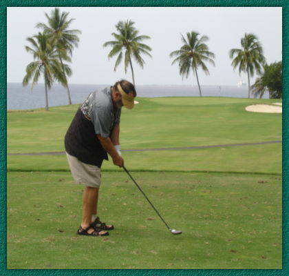 Paul Myers playing golf in Hawaii
